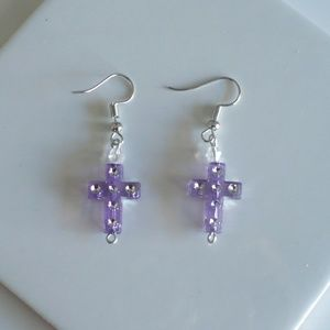 ❤️  NEW Purple & Rhinestone Cross Earrings